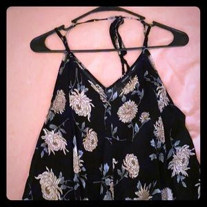 Forever 21 Flower Print Black Dress